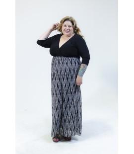 IGIGI MAXI DRESS BLACK AND WHITE CHEVRON PRINT SIZE 18/20