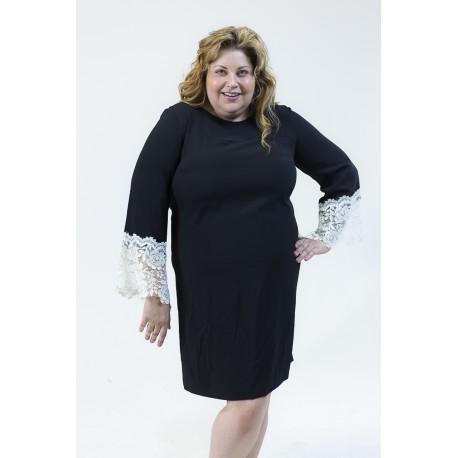 TAHARI BLACK LACE CUFF SHIFT DRESS SIZE 16 NEW