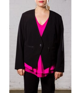 LANE BRYANT BLACK ONE BUTTON FITTED JACKET SIZE 26