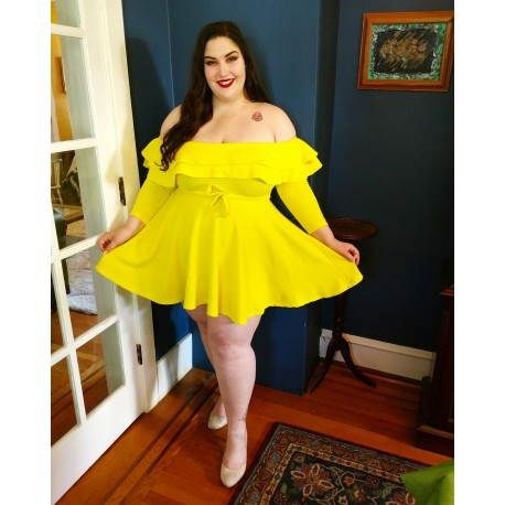 Off The Shoulder Yellow Dress-3X