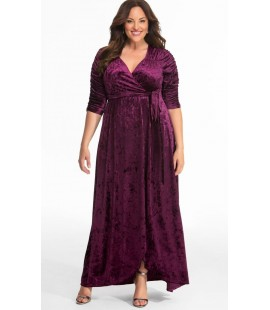 Kiyonna Cara Velvet Wrap Dress Purple Size 4 (26/28)
