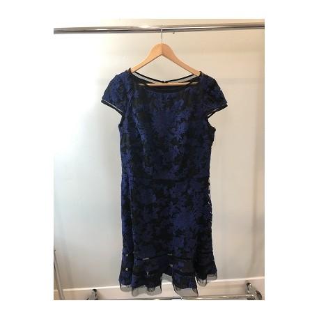 TADASHI NAVY BURNOUT COCKTAIL DRESS SIZE 16