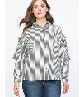 Eloqui Striped Cold Shoulder Button Up Top