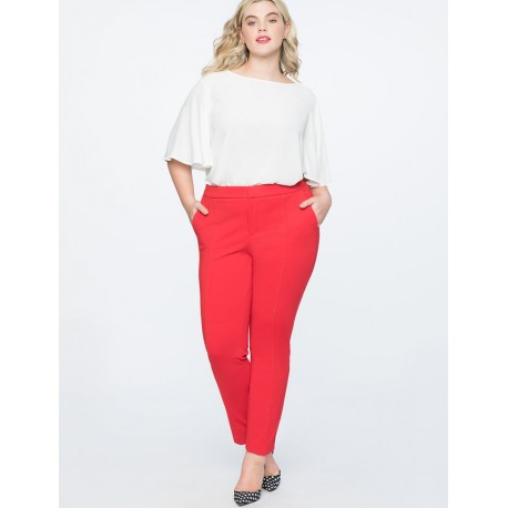 Eloqui Stretch Work Ankle Pant Red Size 24 Short