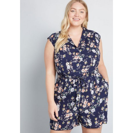 Modcloth Read it and Steep Romper Size 3X