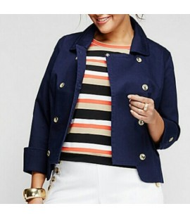 Lane Bryant Double Breasted Navy Cotton Jacket Size 26