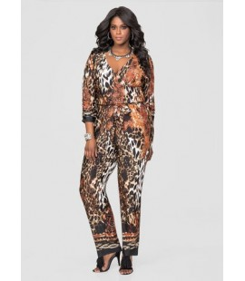 Ashley Stewart Animal Print Jumpsuit - Size 26