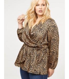 Lane Bryant Leopard Faux-Wrap Top Size 28