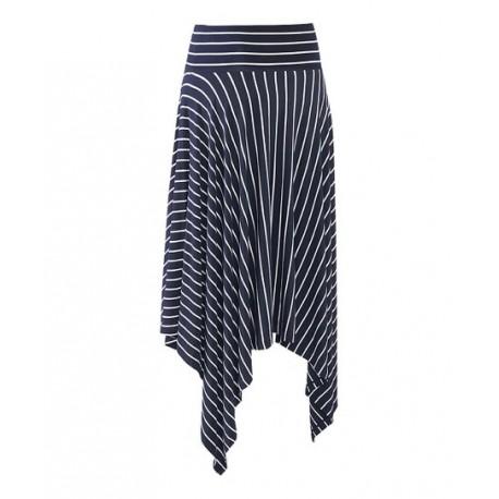 CABI Navy Stripe Asymmetrical Skirt - Size L