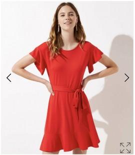 LOFT Tie Waist Flounce Dress (Size 22)