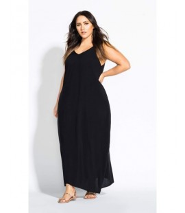 City Chic Women's Black V Neck Maxi